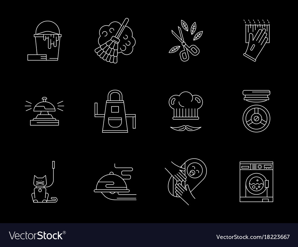 Home care flat line icons set vector image