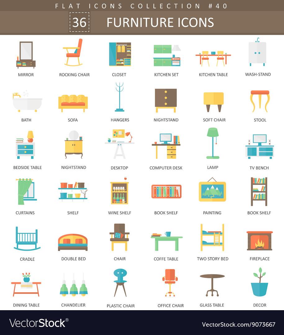 Interior Furniture color flat icon set vector image