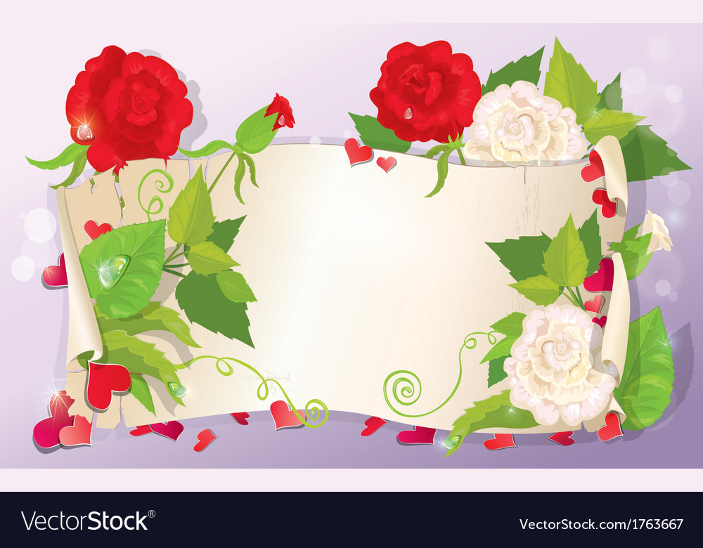 love letter with hearts and flowers rose daisy vector image