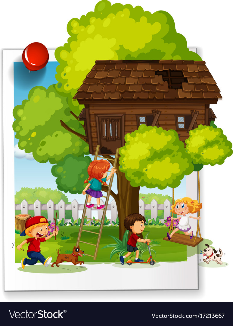 Many kids playing at the treehouse