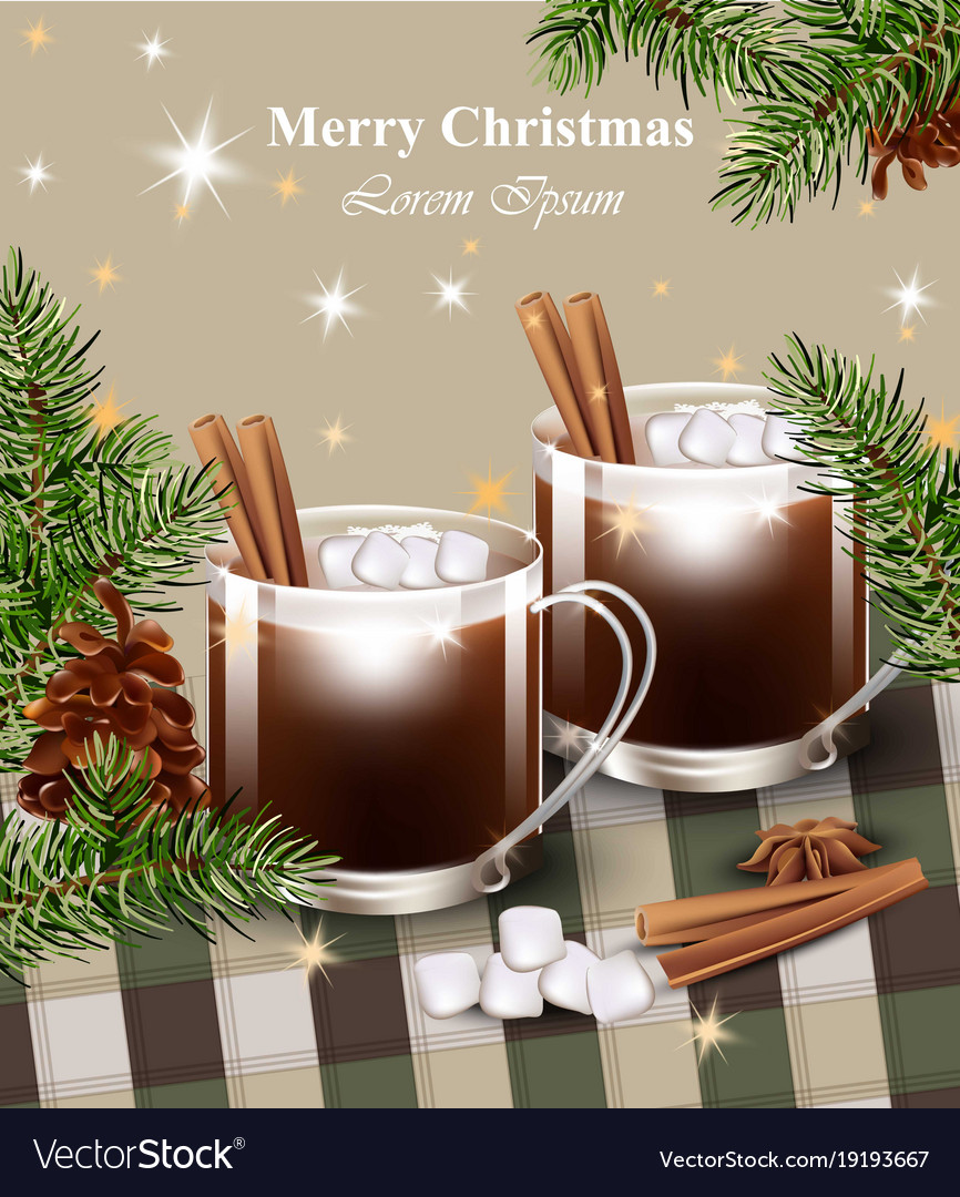 Merry Christmas Card With Hot Chocolate Royalty Free Vector