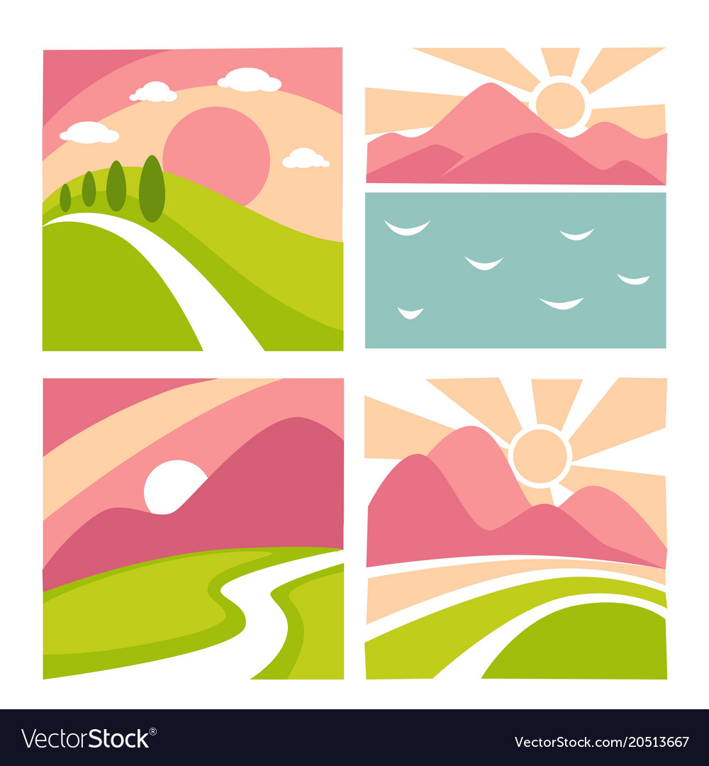 Nature landscape flat icons templates for