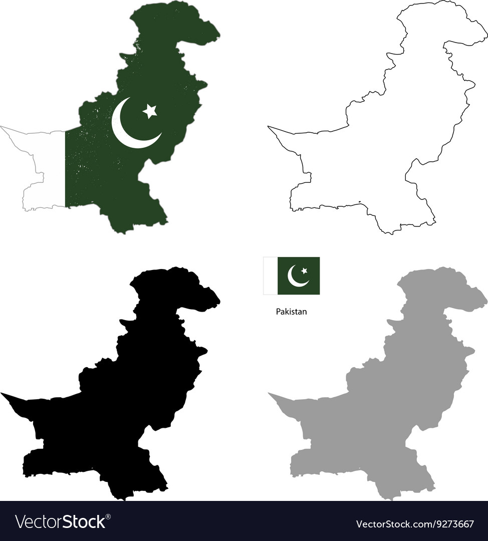 Pakistan country black silhouette and with flag on