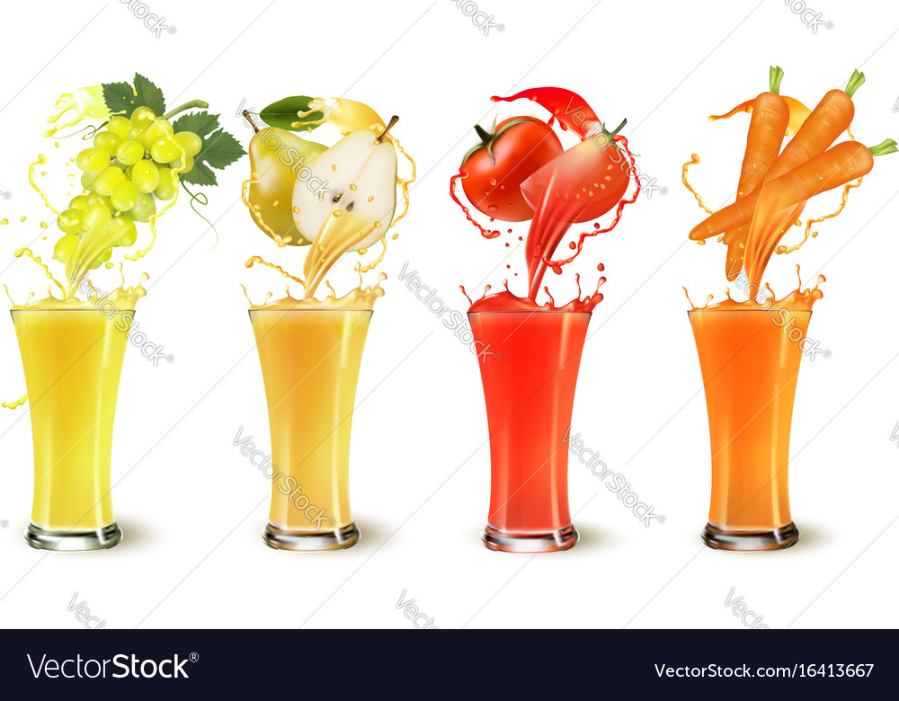 Set of fruit juice splash in a glass grapes