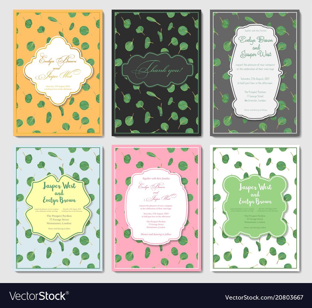 Set of six postcards with designer vintage frames