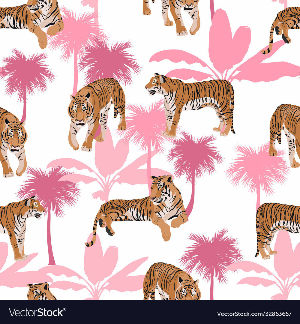 Tigers with tropical leaves