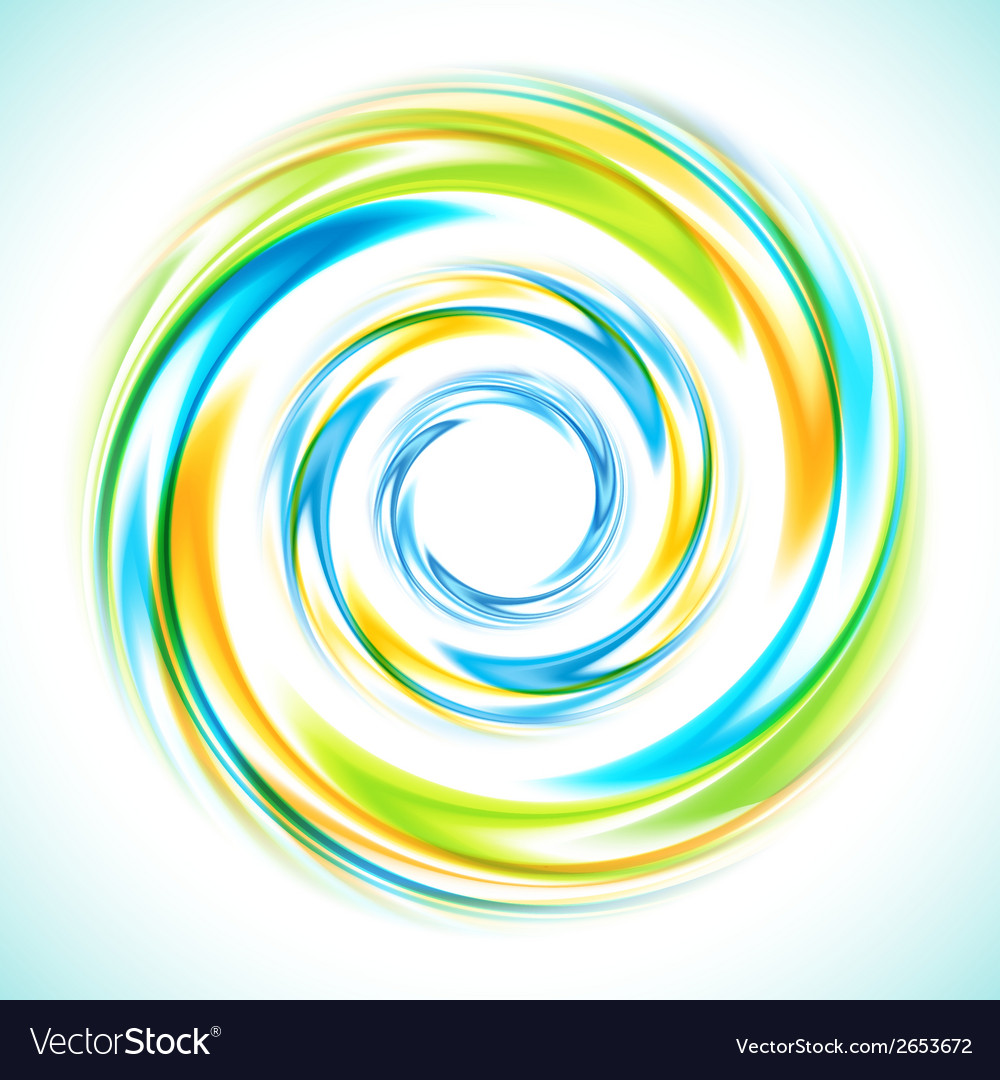 Abstract blue green and yellow swirl circle bright