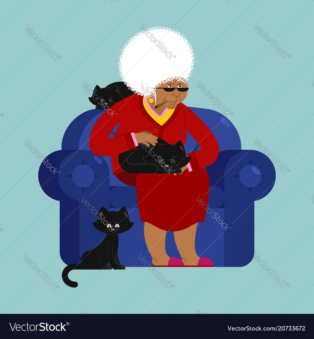 African american grandmother and cat sitting on