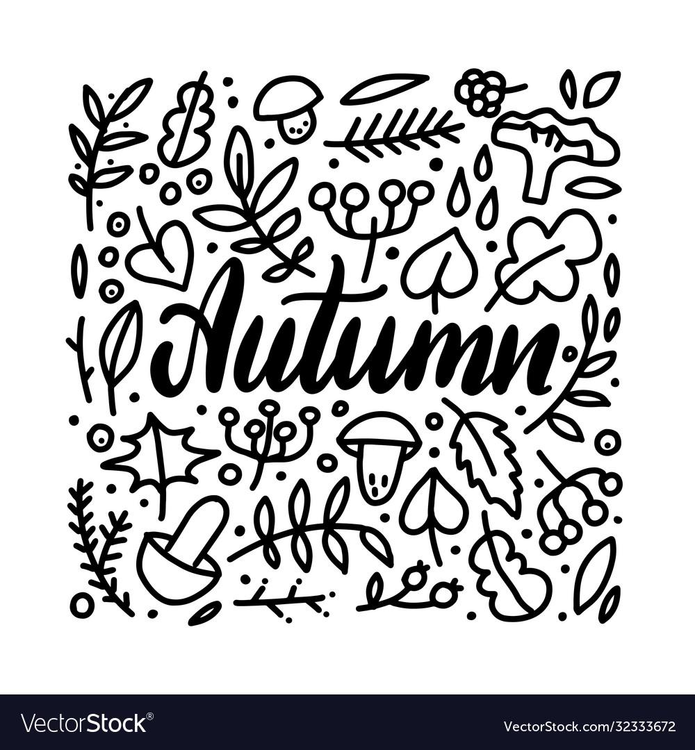 Autumn leaves doodles set hand drawn lettering