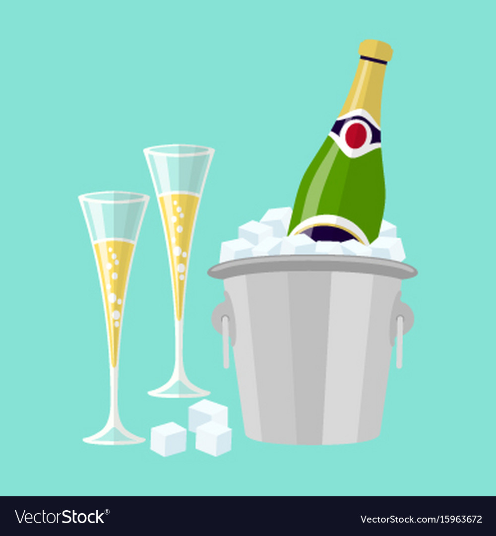 Champagne bottle in bucket with ice and glasses