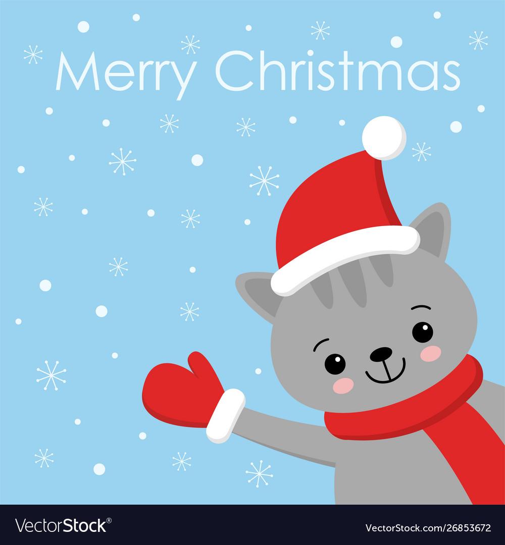 Christmas cat kitten cartoon character a cute