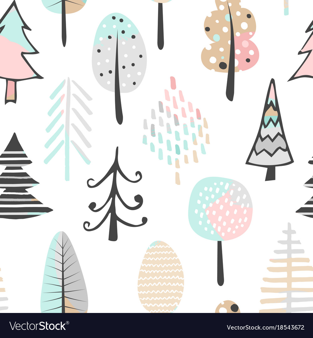 Cute seamless pattern with tree hand drawn