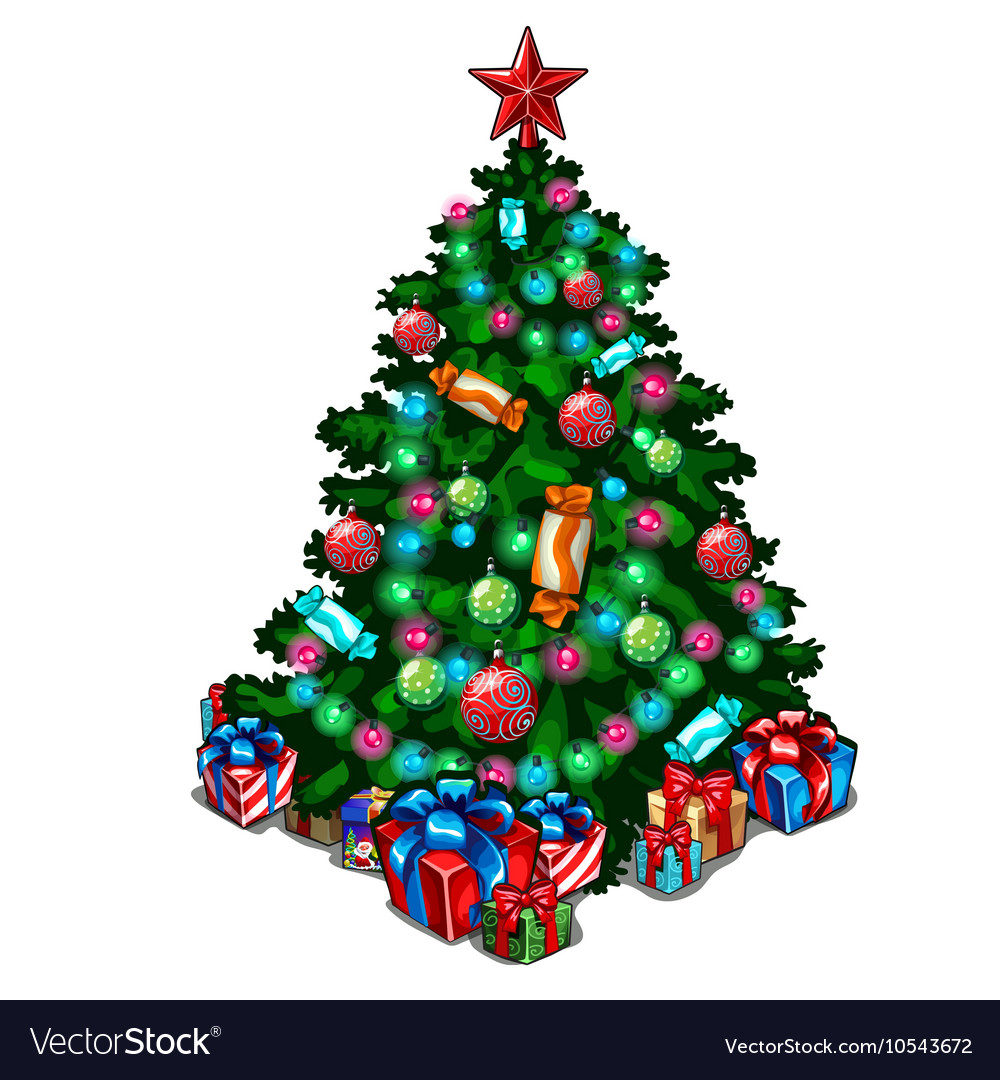 Decorated Christmas tree with toys and gifts vector image