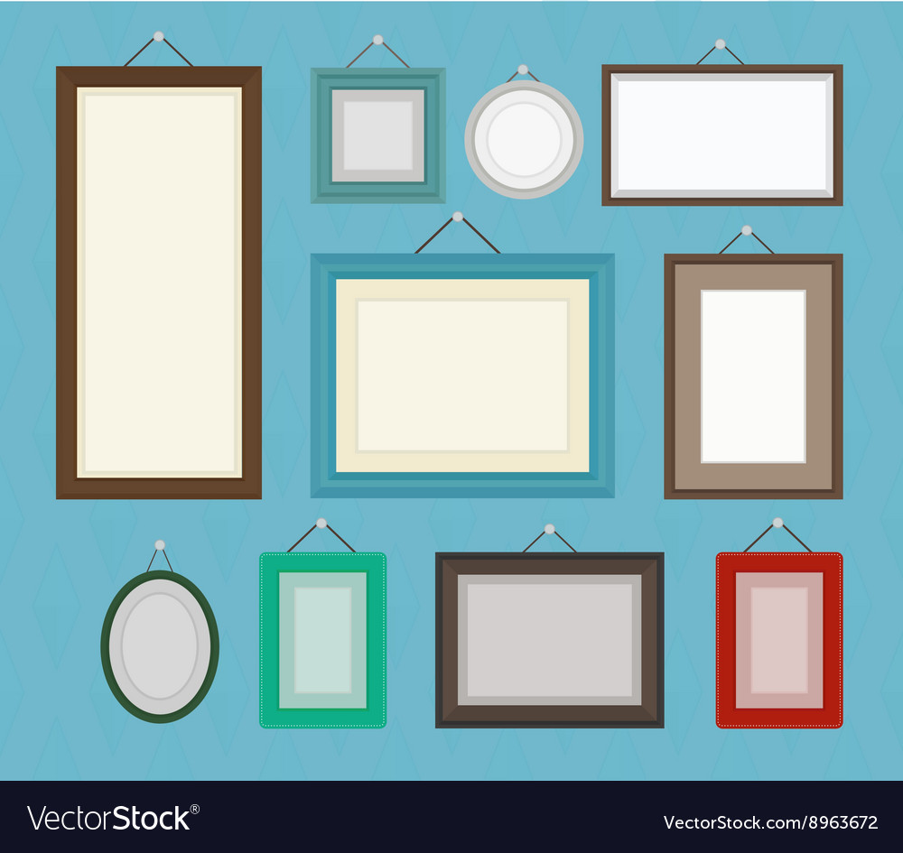 Different color blank picture frame template