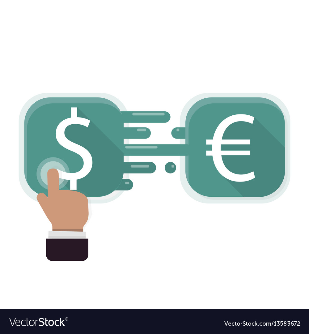 Exchange dollar on euro icon flat for graphic vector image