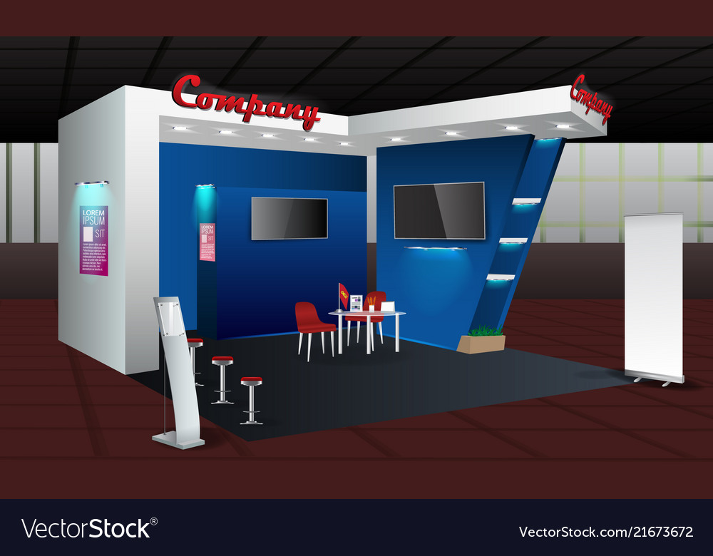 Exhibition Stand Free D Model : Exhibition stand display design with info board vector image