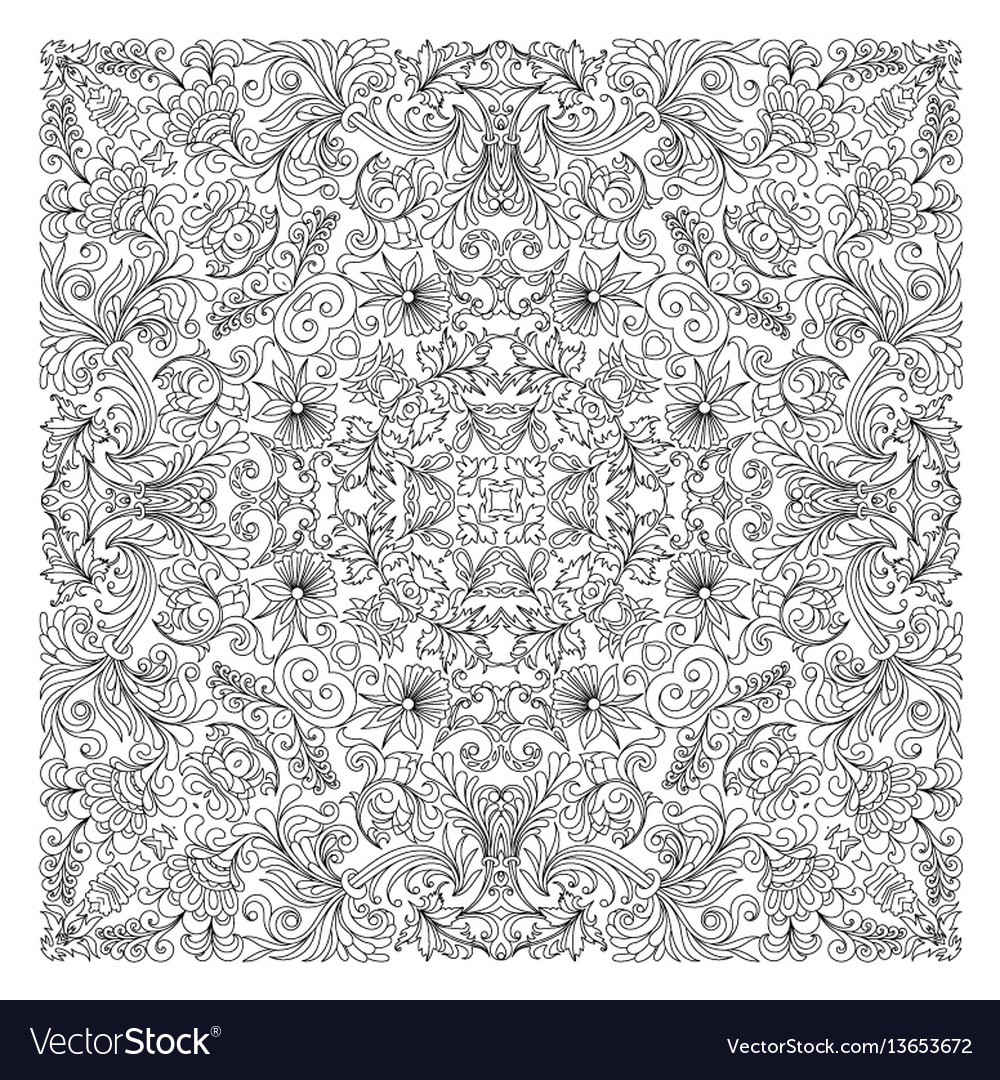 Floral pattern coloring book page for