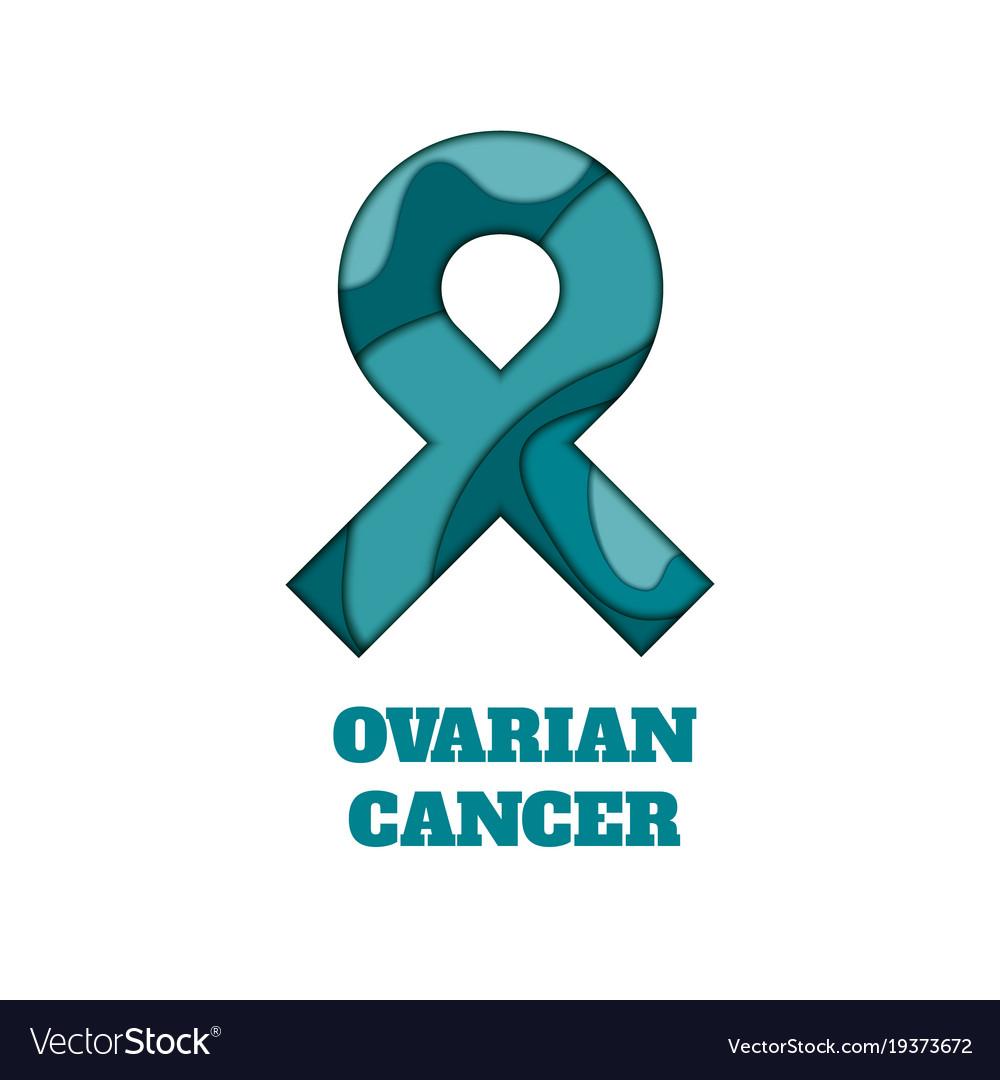 Ovarian Cancer Awareness Papercut Ribbon Vector Image