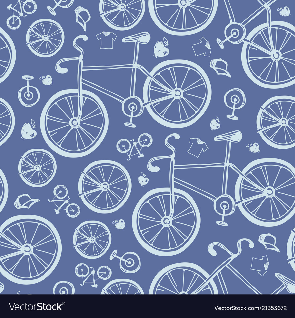 Seamless blue bicycles pattern