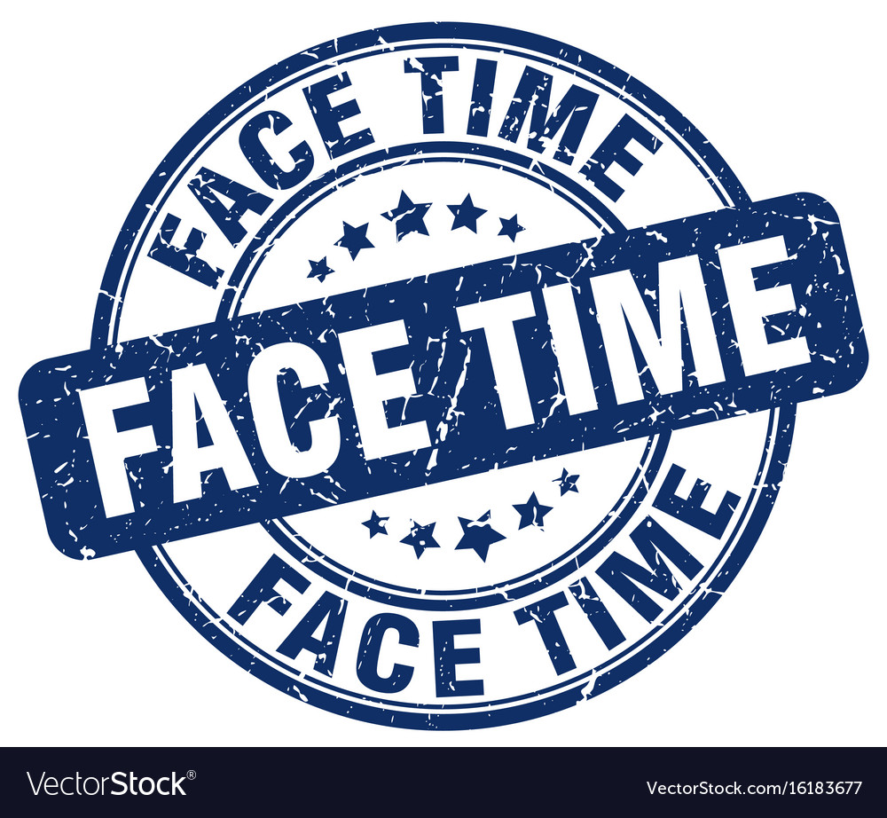 Face time blue grunge stamp