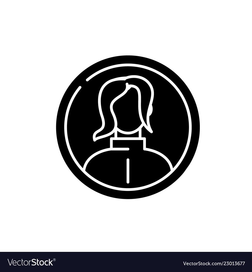 Female profile black icon sign on isolated
