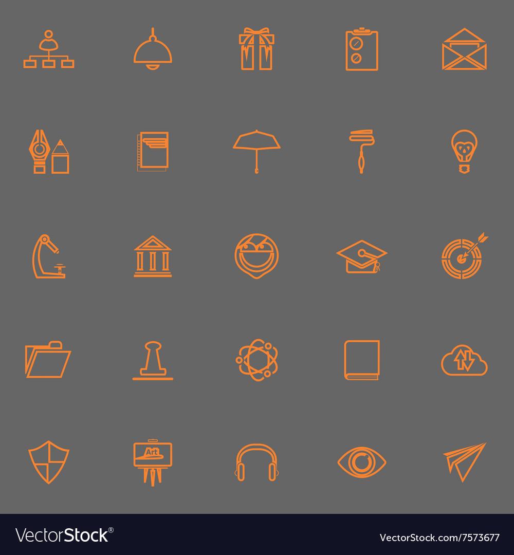 Job resume line icons orange color Royalty Free Vector Image