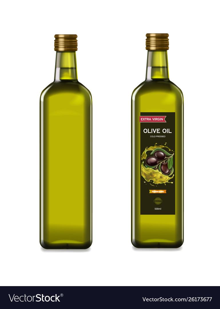 Olive oil glass bottles with olive oil splash