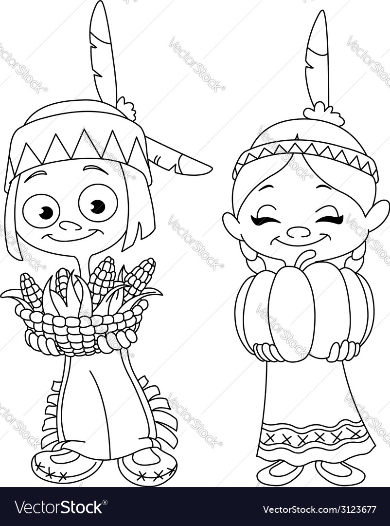 Outlined american indian children