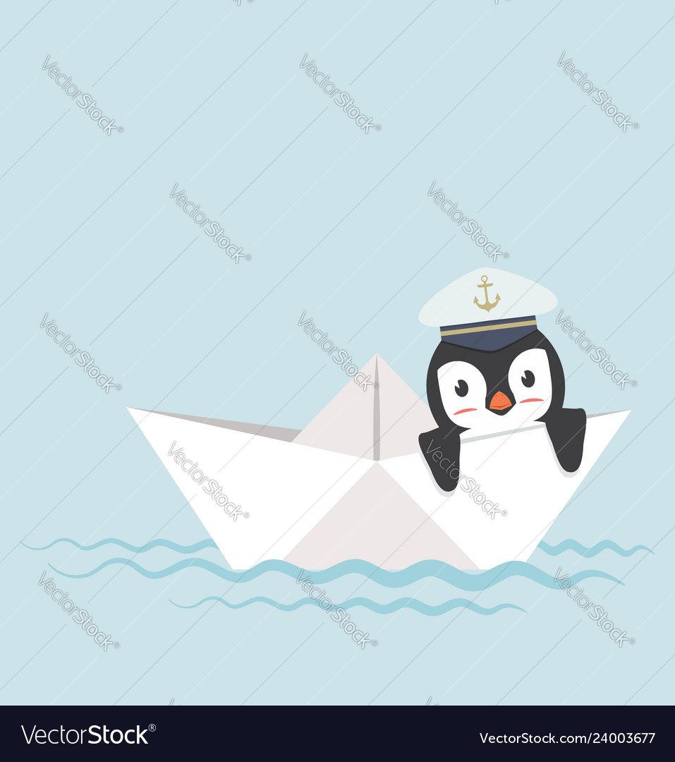 Penguin in paper boat