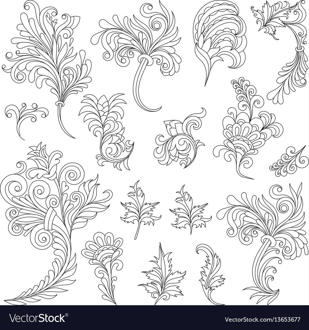 Set of swirl vintage ornaments for design vector image