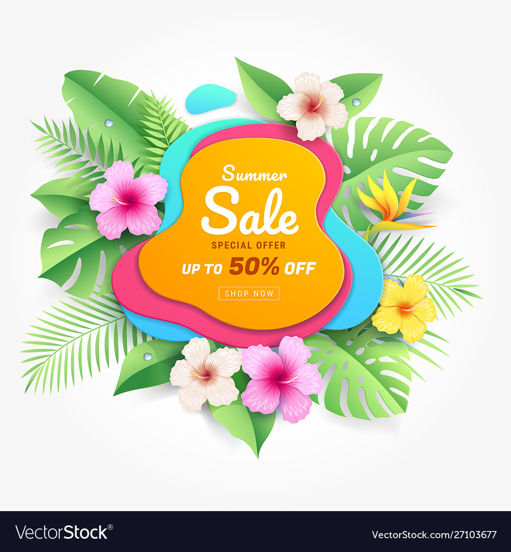 Summer sale card with hibiscus flowers