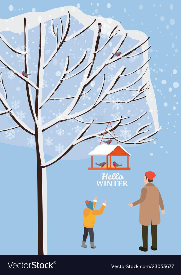 Winter landscape bird feeder with feed birds
