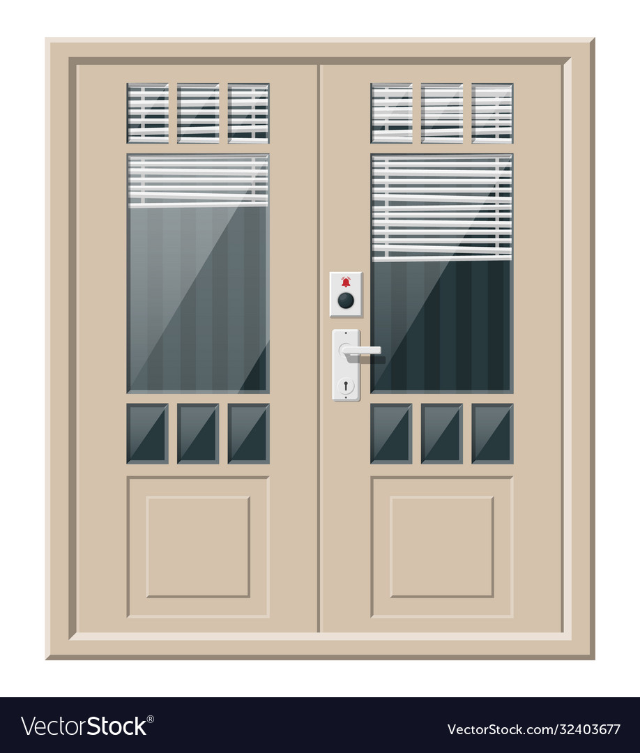 Wooden cottage door with windows and window blind
