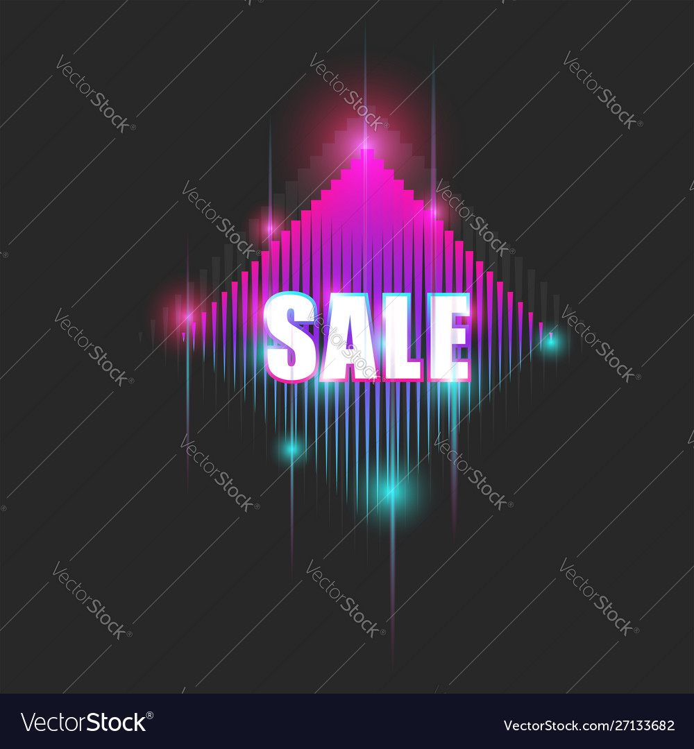 Bright neon billboard with text sale sparkling