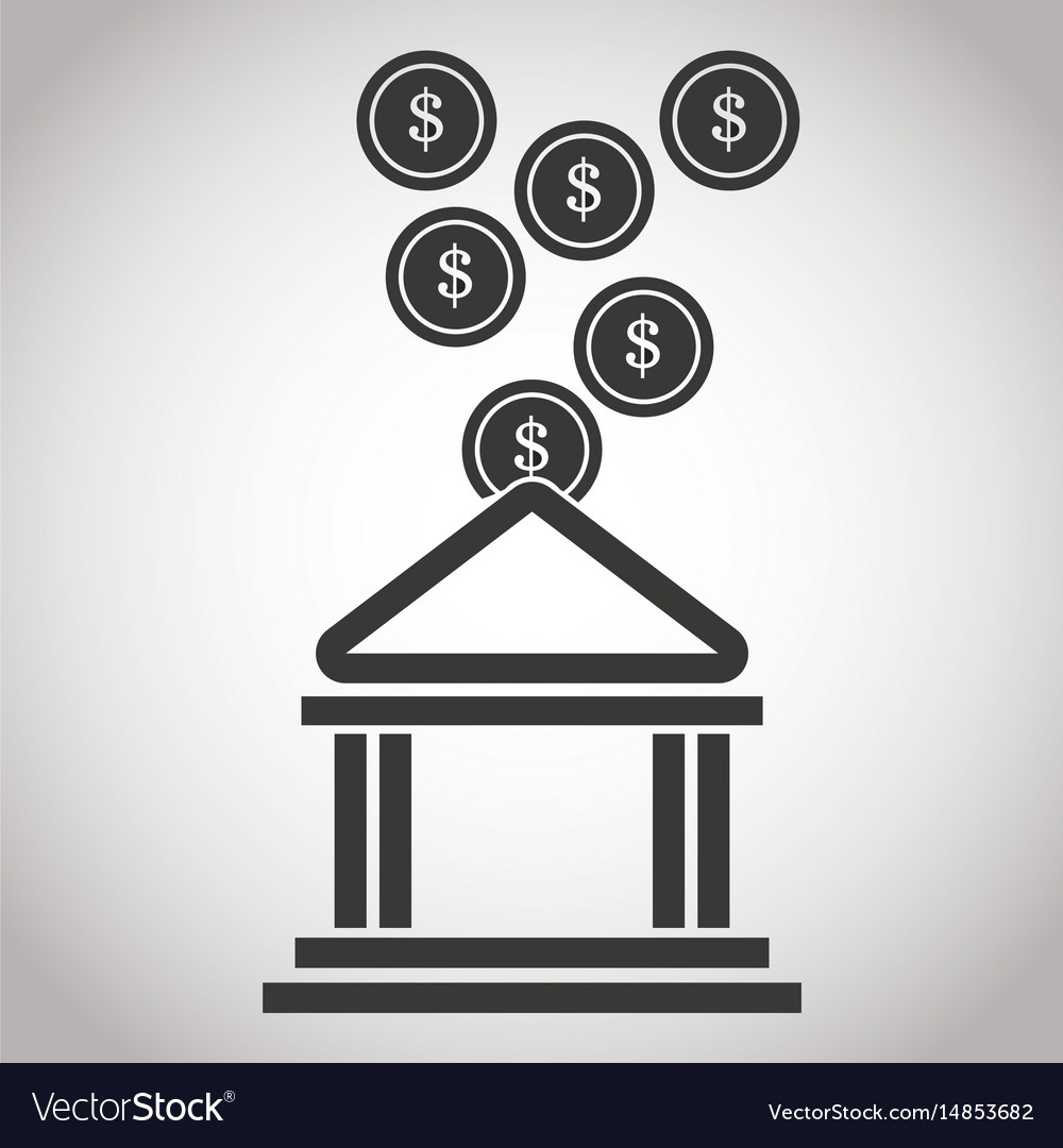Building bank coin money banking pictogram image