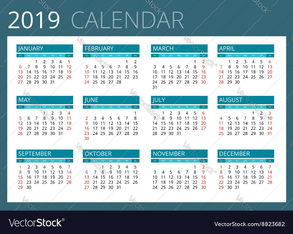 Acc Calendar 2019 Calendar for 2019 Week Starts Sunday Simple Vector Image