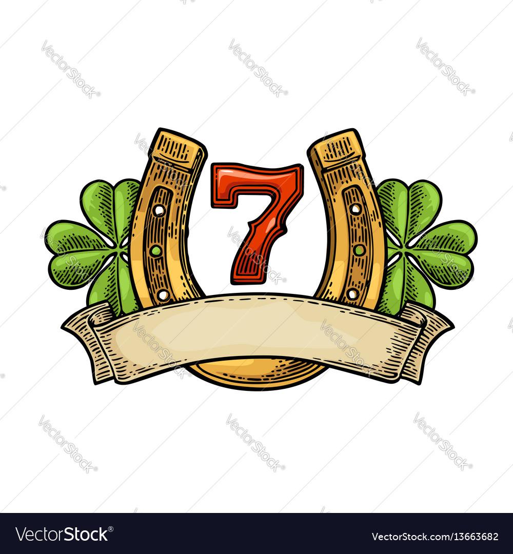 Four leaf clover horseshoe number seven ribbon vector image