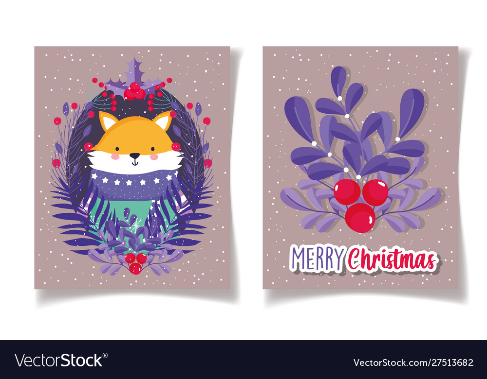 Fox with sweater foliage holly berry merry