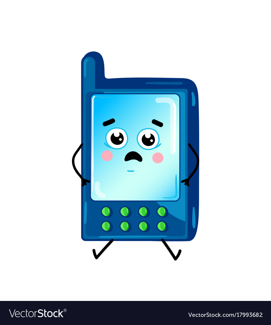 Funny Cell Phone Cartoon Character Royalty Free Vector Image