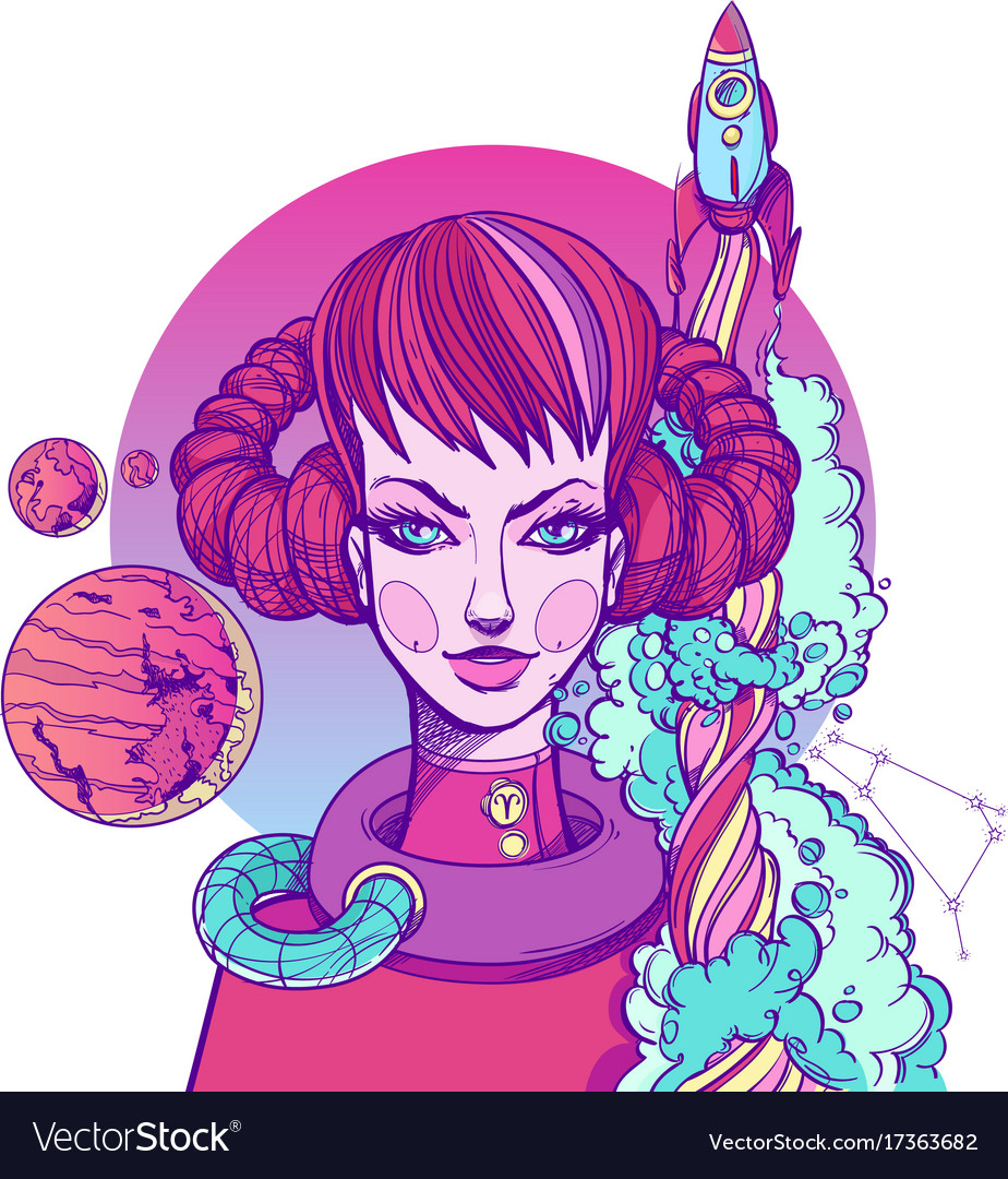Girl symbolizes the zodiac sign aries pastel goth vector image