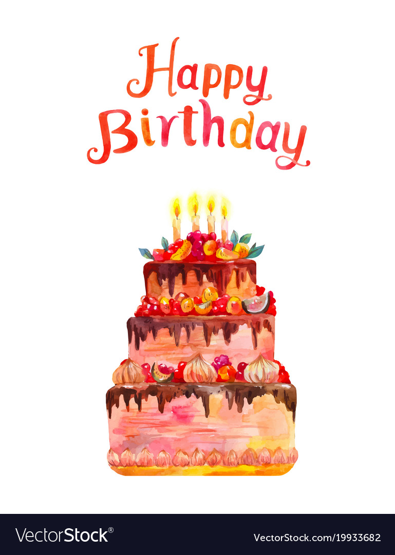Greeting card or poster happy birthday watercolor vector image m4hsunfo