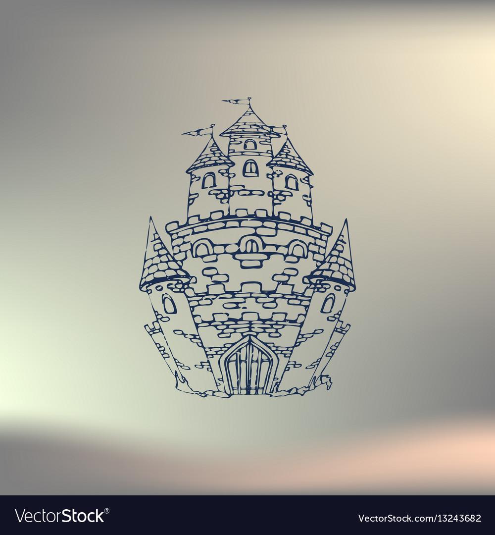 Hand drawn cartoon fairy tale castle icon