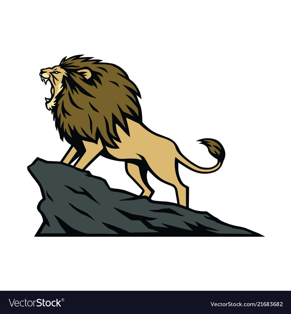 Lion roaring on the mountain hill cartoon