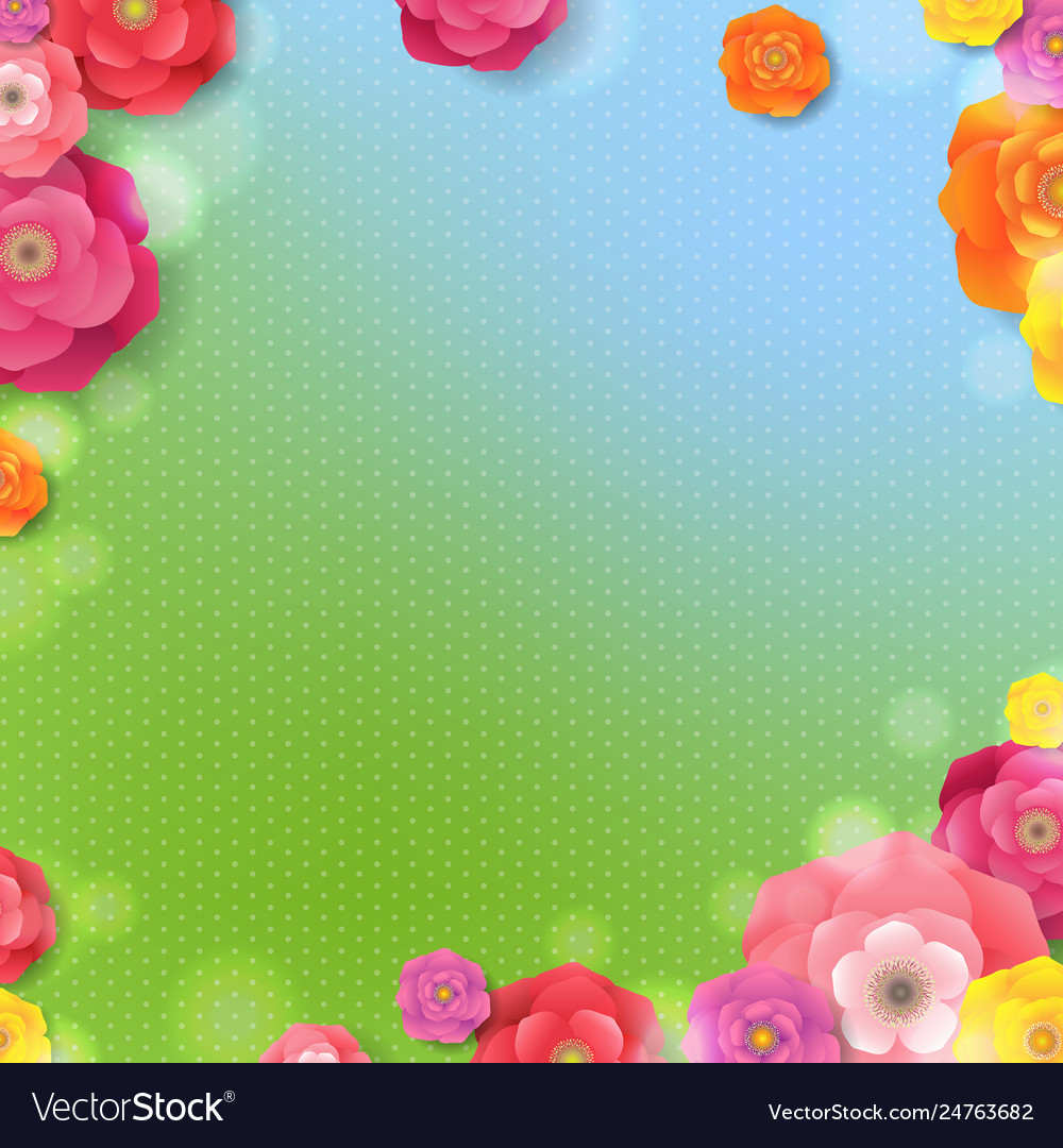 Spring banner with spring flowers
