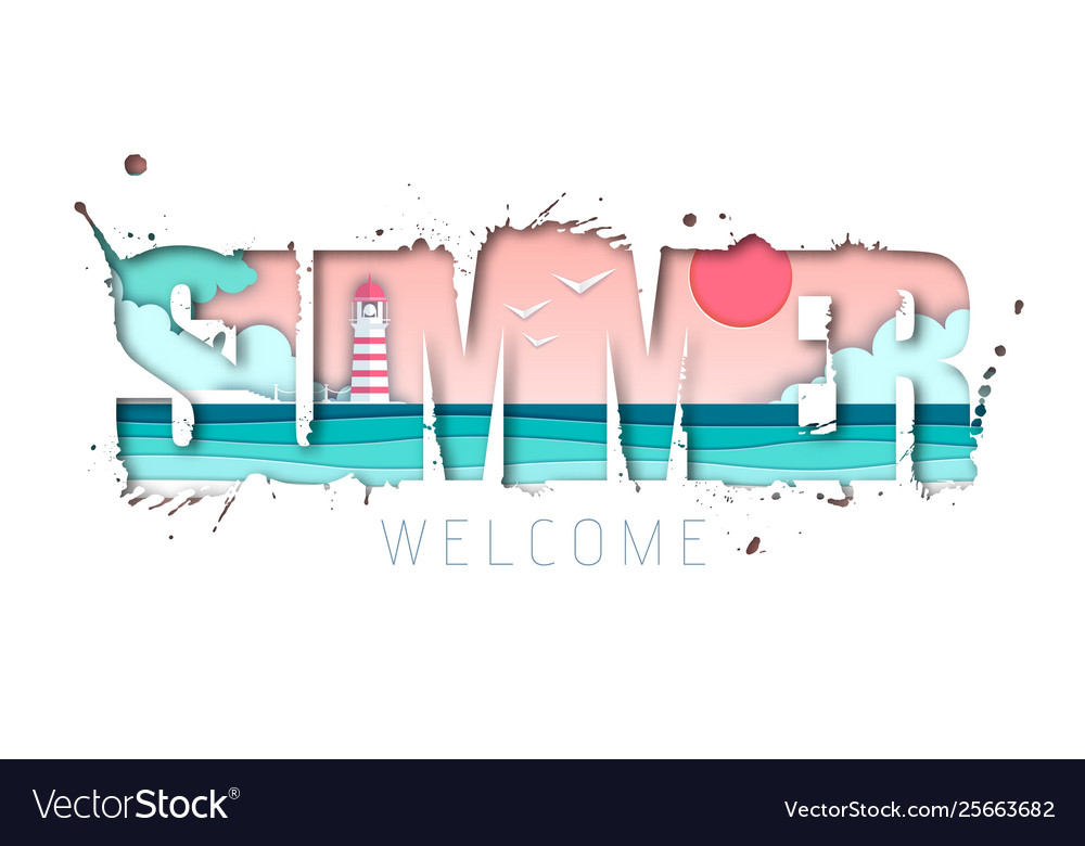 Summer typography poster with beach and ocean