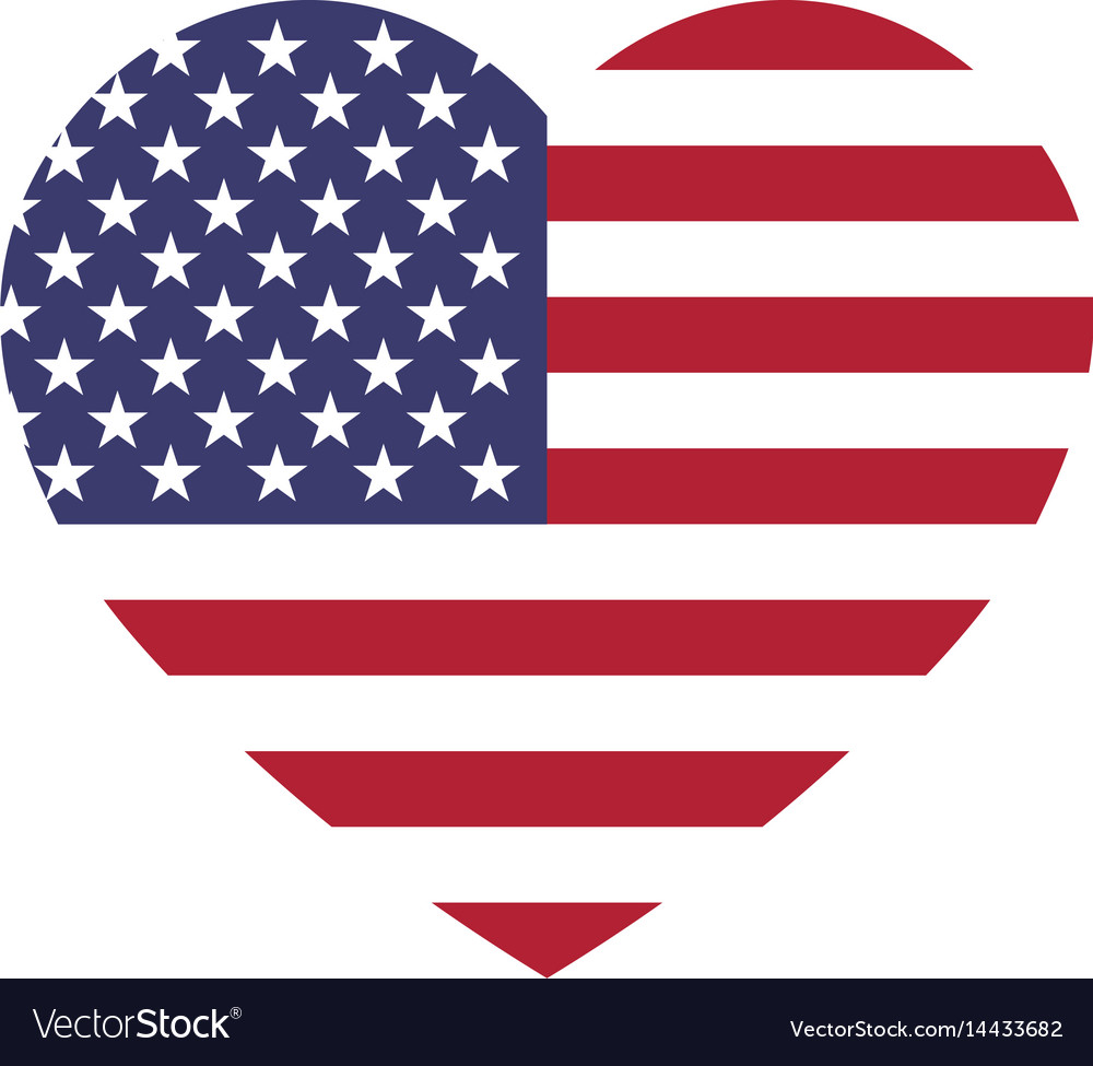 Usa flag in a shape of heart patriotic national