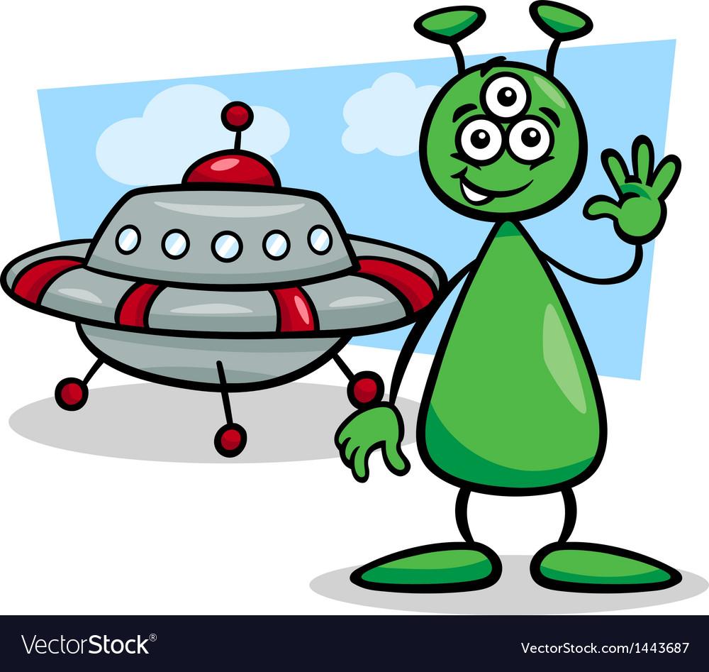 Alien with ufo cartoon