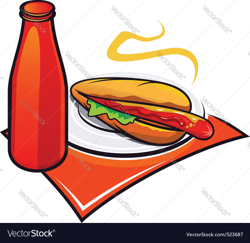 Appetizing hotdog with ketchup