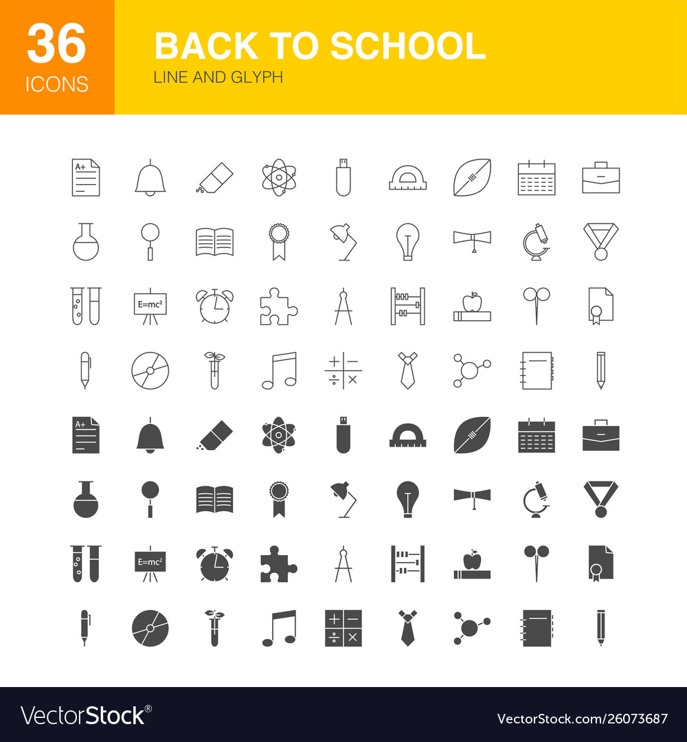 Back to school line web glyph icons