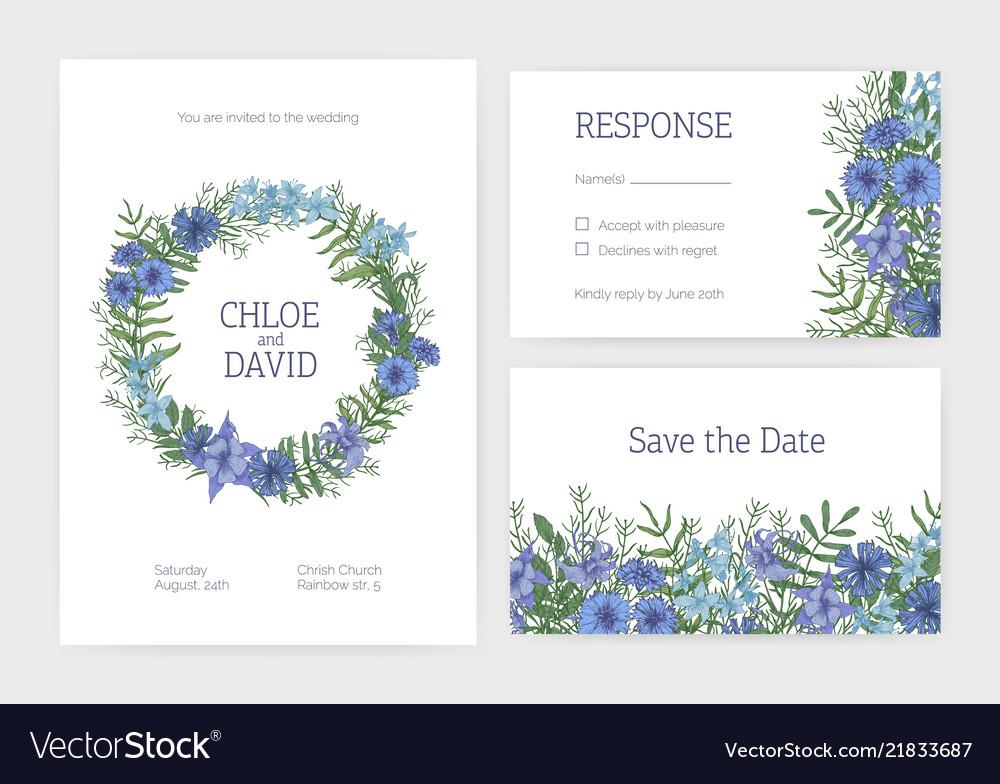 Bundle of romantic wedding invitation save the